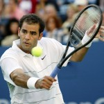 Pete Sampras of the US hits a backhand to compatri