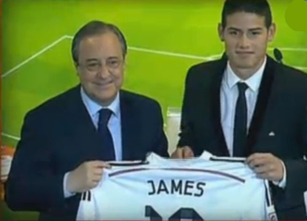 James y el Presidente del Real Madrid.