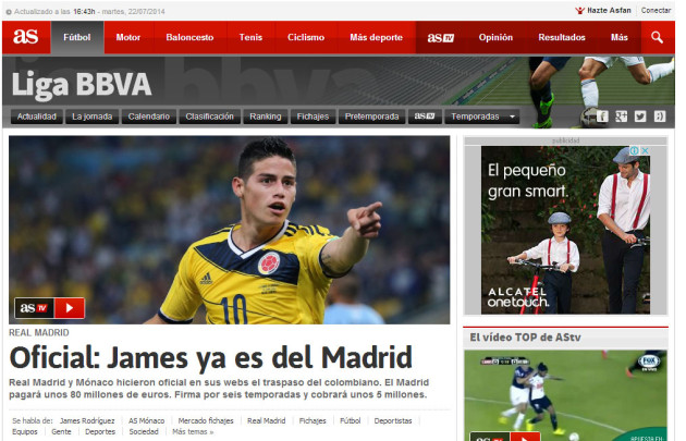James y el Real Madrid. Portada de AS.